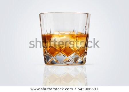 Whiskey vágási körvonal kövek izolált jég ital Stock fotó © songbird