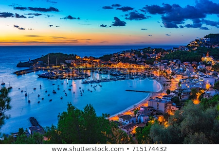 port de soller sunset in majorca at balearic island stock photo © lunamarina