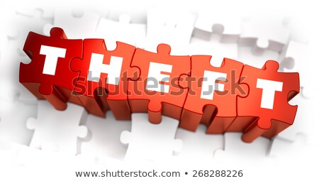 theft   white word on red puzzles stock photo © tashatuvango