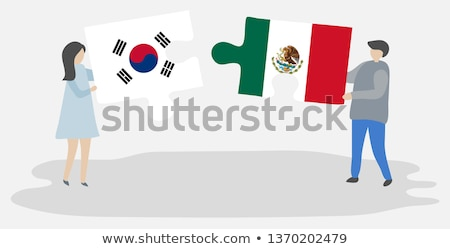 Mexico and South Korea Flags in puzzle Stock photo © Istanbul2009