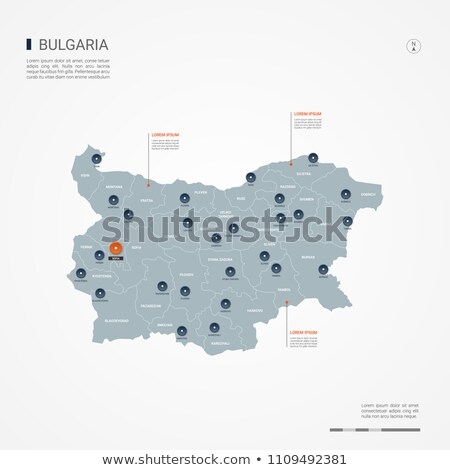 orange button with the image maps of button Bulgaria Stock photo © mayboro