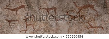 древних картины пещере стен стены острове Сток-фото © Yongkiet