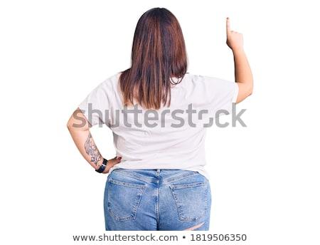 Nők túlsúlyos mögött izolált fehér nő Stock fotó © Mikko