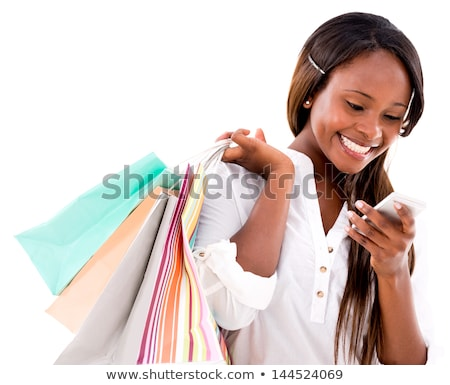 black girl shopping and text messaging on phone stock photo © diego_cervo