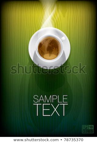 Beker thee kaart theepot potlood onderwijs Stockfoto © Nickolya