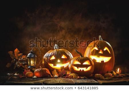 ijesztő · halloween · fa · lámpás · sötét · háttér - stock fotó © dla4