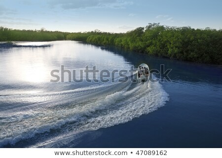 Boat ship wake prop wash sunset lake river Stock photo © lunamarina