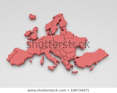 Portugal vermelho 3D europa mapa isolado Foto stock © iqoncept