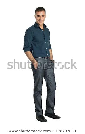 幸せ 成熟した男 手 白髪 口ひげ 立って ストックフォト © ozgur