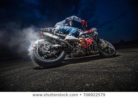 Motorbicikli szenzáció fiatal motoros fánk motorkerékpár Stock fotó © fouroaks