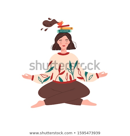 Békés tinilány ül könyv fej meditál Stock fotó © deandrobot