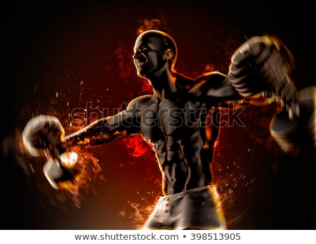 Closeup of a handsome bodybuilder with burning dumbbells. 3d ill Stock photo © Kirill_M