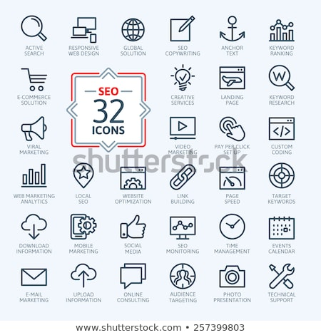 Monitor lijn icon hoeken web mobiele Stockfoto © RAStudio
