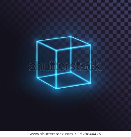 server sign in blue cube on boxes 3d illustration stock photo © marinini