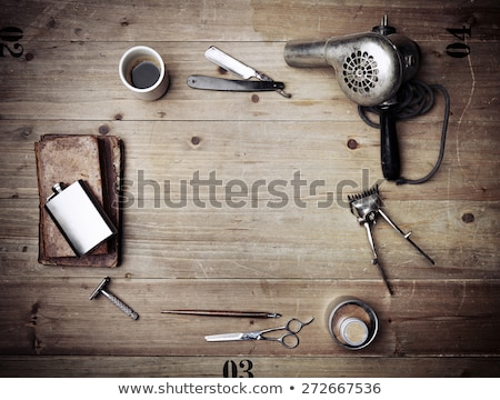 Barber equipment on wood background Stock photo © vlad_star