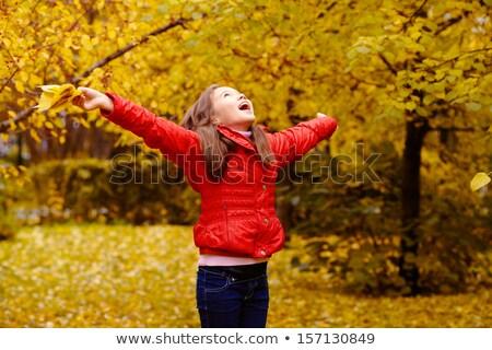 Stok fotoğraf: Güzel · genç · esmer · kız · park · düşmek