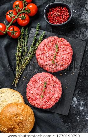 Stockfoto: Ruw · hamburger · plastic · verpakking · vers · hamburger
