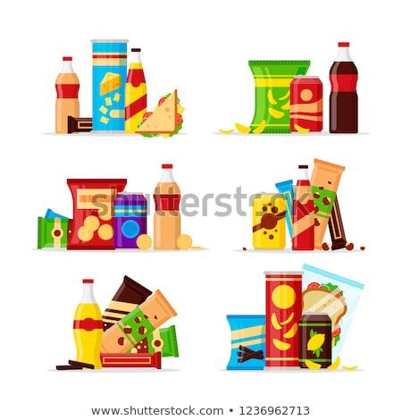 Harapnivalók különböző asztal étel üveg étterem Stock fotó © racoolstudio