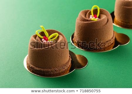 mini · csokoládés · sütemény · cseresznye · tányér · friss · édes - stock fotó © digifoodstock