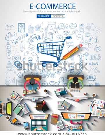 Ecommerce Infograph Brochure template with hand drawn sketches  Stock photo © DavidArts