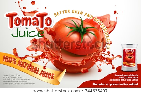 fresh tomatoes and tomato soup in can stock photo © bluering