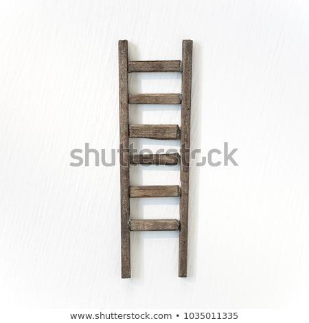fából · készült · létra · padlás · izolált · fehér · ház - stock fotó © perysty