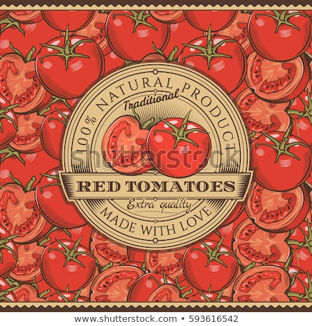 vintage red tomatoes label on seamless pattern stock photo © conceptcafe