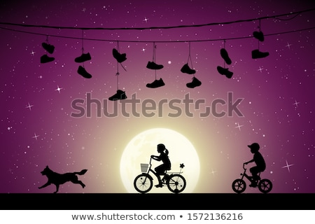 girl with dog in the moonlight Stock photo © adrenalina