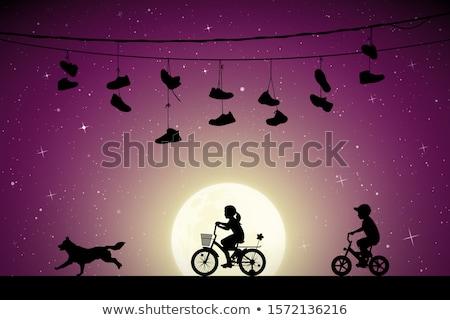 Kız köpek ay ışığı örnek doğa çocuk Stok fotoğraf © adrenalina