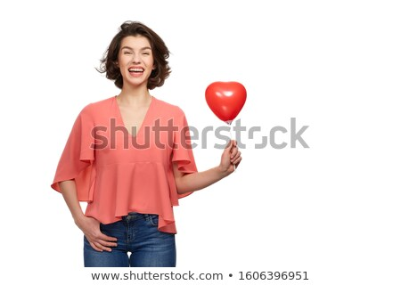 Rood · gelukkige · verjaardag · hartvorm · ballonnen · 3D · geïsoleerd - stockfoto © victoria_andreas