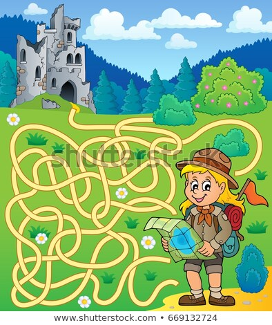Maze 4 with scout girl Stock photo © clairev