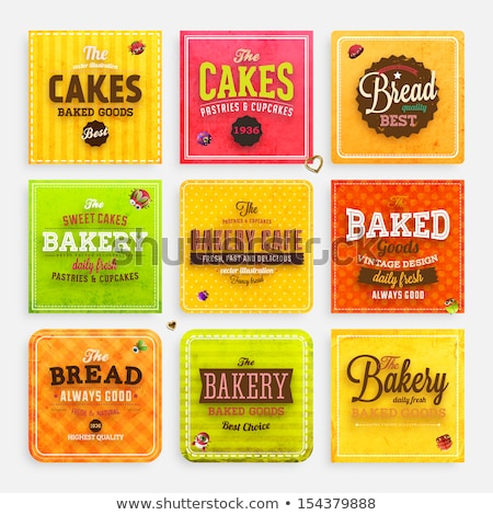 Bakery shop vector frame Baked bread products icons Stock photo © MarySan