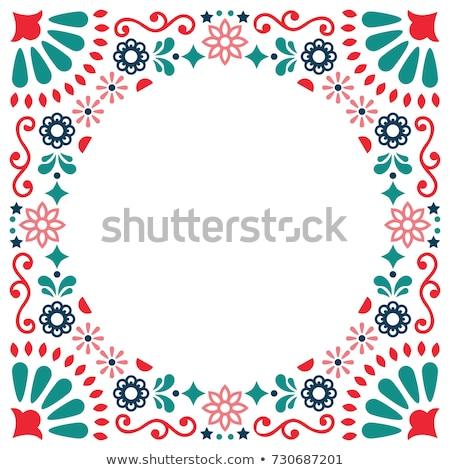Mexican folk art vector greeting card, retro wedding or party invitation with modern twist  Stock photo © RedKoala