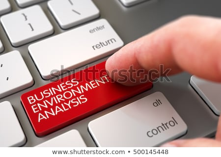 Foto stock: Hand Finger Press Business Environment Analysis Key 3d