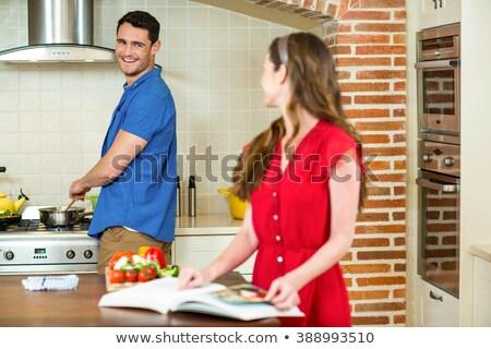 Nők beszél étel nő étel étterem Stock fotó © IS2