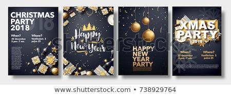 Happy New 2018 year with xmas tree, vector illustration Stock photo © carodi