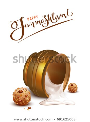 Happy Janmashtami lettering text and overturned pot greeting card Stock photo © orensila