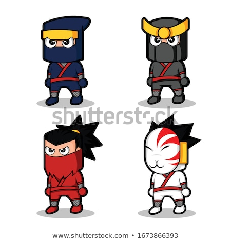 ninja character vector cartoon funny warriors different poses isolated on white background flat c stock photo © pikepicture