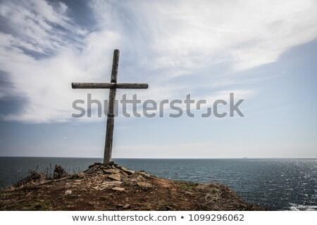 bois · croix · blanche · faible · isolé · christ - photo stock © mps197