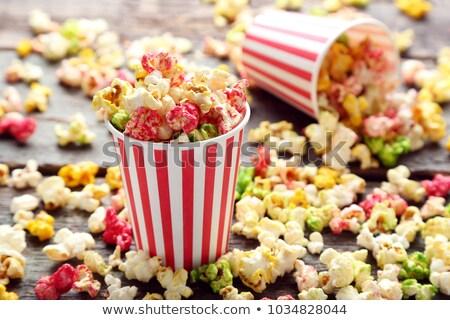 Kolorowy popcorn pasiasty lemoniada vintage Zdjęcia stock © BarbaraNeveu