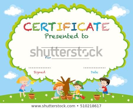 Stock fotó: Diploma · sablon · gyerekek · park · illusztráció · lány