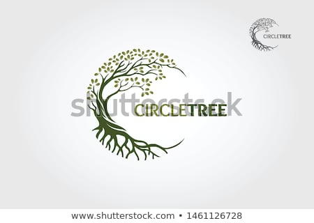 Green tree with roots vector cartoon illustration. Stock photo © RAStudio