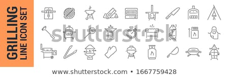Barbecue gas grill with grilled burgers icon Stock photo © studioworkstock