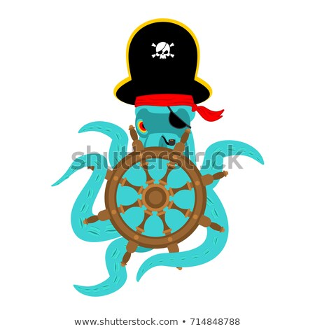 Octopus pirate and skull. poulpe buccaneer and skeleton head. Ey Stock photo © popaukropa