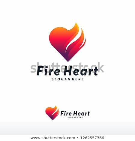 ストックフォト: 火災 · 中心 · 燃えるような · 孤立した · 黒 · 愛
