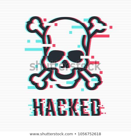 ハッカー 黒 頭蓋骨 セット 頭蓋骨 文字 ストックフォト © romvo