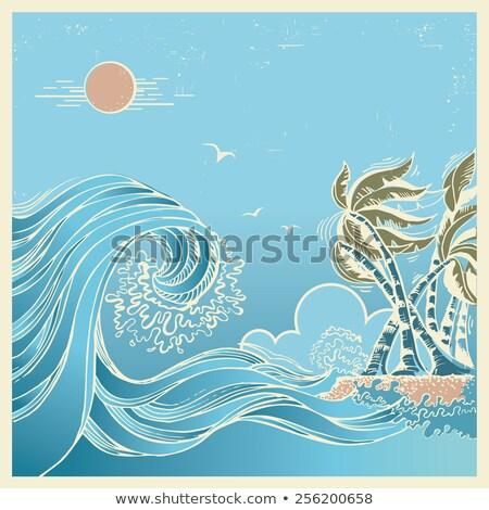 tropische · palm · zee · golf · zonnige · geïsoleerd - stockfoto © bluering
