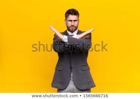 Photo stock: Portrait · colère · jeunes · affaires · costume · poing