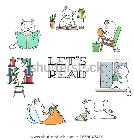Gyerekek könyvtár poszter olvas illusztráció kicsi Stock fotó © lenm