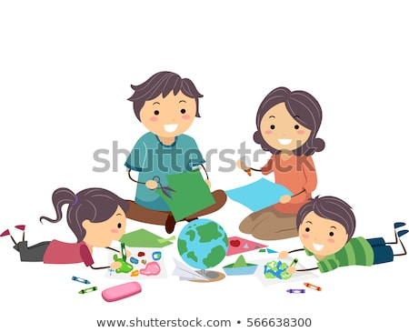 Stickman Family Geography Artwork Stock photo © lenm